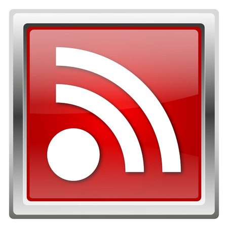 Metallic icon with white design on red background Stock Photo - 22376799