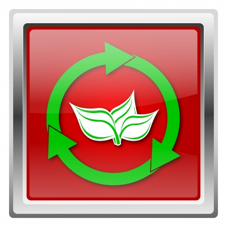 Metallic icon with green design on red background photo