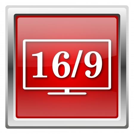 16 9: Metallic icon with white design on red background Stock Photo