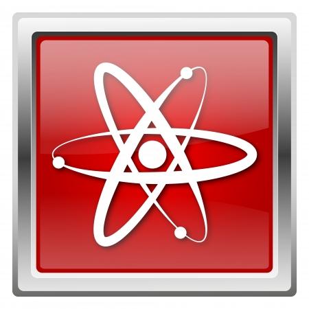 Metallic icon with white design on red background Stock Photo - 22376865