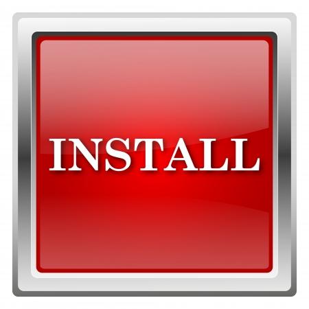 operative: Metallic icon with white design on red background Stock Photo