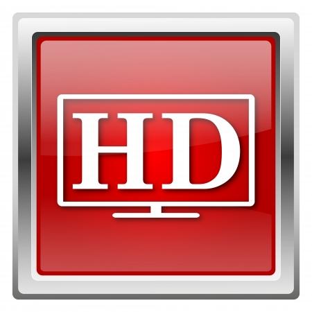Metallic icon with white design on red background Stock Photo - 22376923