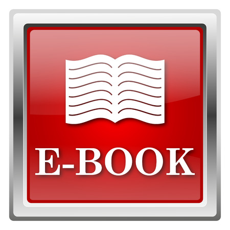 audiobook: Metallic icon with white design on red background Stock Photo