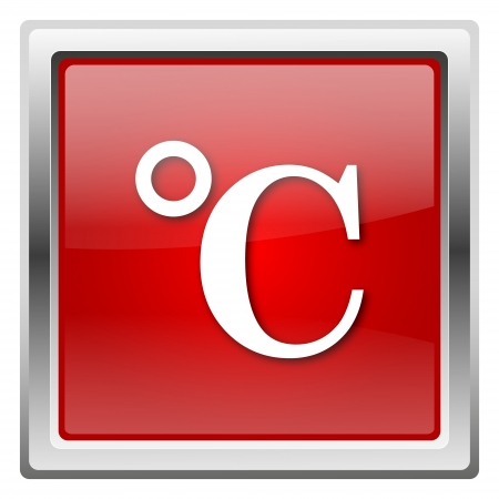 celcius: Metallic icon with white design on red background Stock Photo
