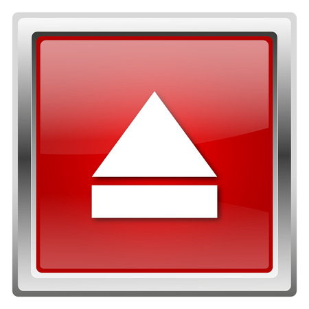 Metallic icon with white design on red background photo
