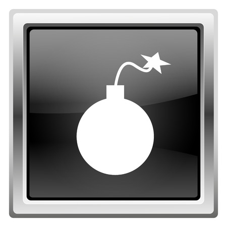 mines: Metallic icon with white design on black background