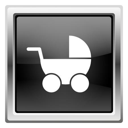 Metallic icon with white design on black background photo