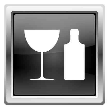 vermouth: Metallic icon with white design on black background