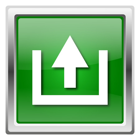 Metallic icon with white design on green background photo