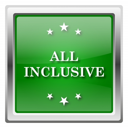 inclusive: Metallic icon with white design on green background