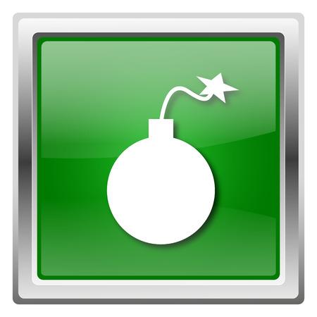 threat: Metallic icon with white design on green background