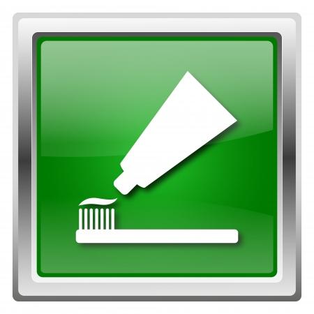 fluoride toothpaste: Metallic icon with white design on green background