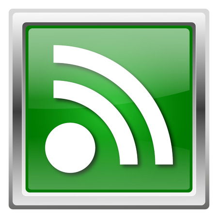 Metallic icon with white design on green background Stock Photo - 22546967