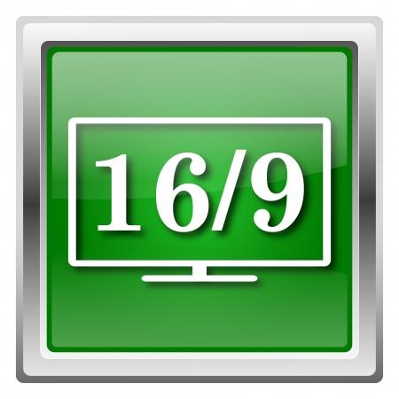 16 9 display: Metallic icon with white design on green background