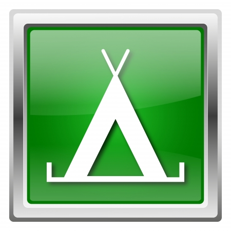 3d bungalow: Metallic icon with white design on green background