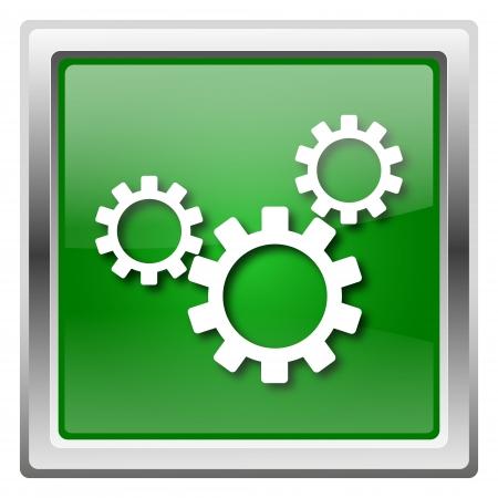 adjustment: Metallic icon with white design on green background