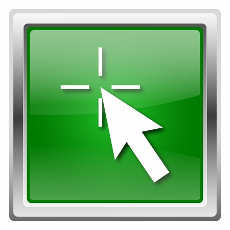 Metallic icon with white design on green background photo