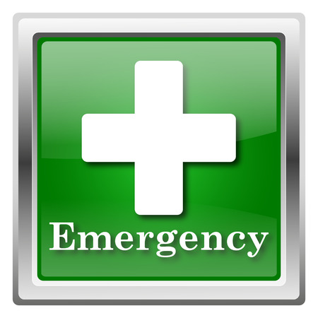 emergency number: Metallic icon with white design on green background