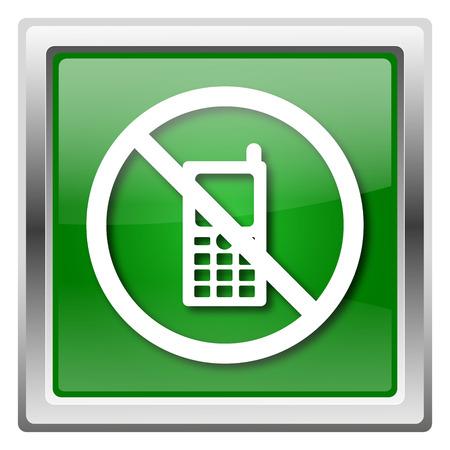 refrain: Metallic icon with white design on green background