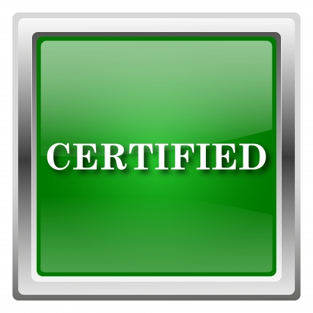 of ratification: Metallic icon with white design on green background