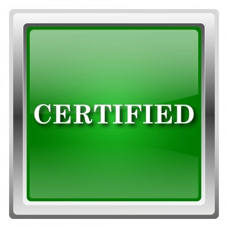 endorsed: Metallic icon with white design on green background