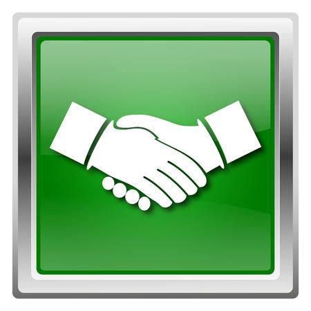 Metallic icon with white design on green background Stock Photo - 22563044