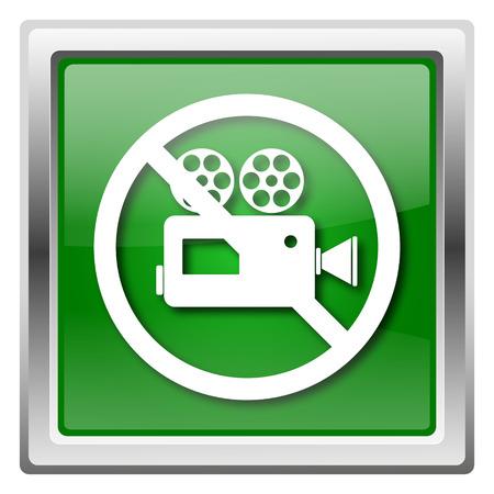 Metallic icon with white design on green background Stock Photo - 22563091