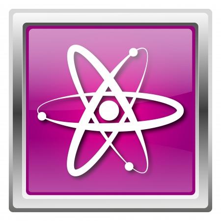 Metallic icon with white design on fuchsia background Stock Photo - 22674933