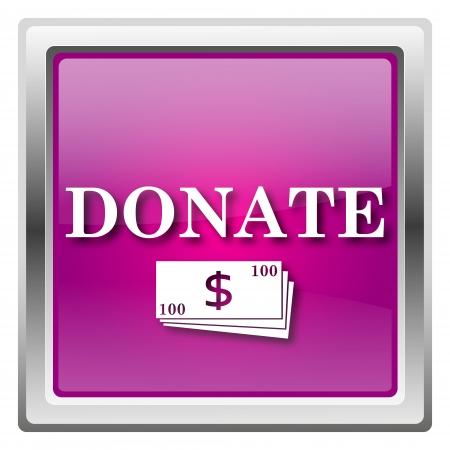 charitable: Metallic icon with white design on fuchsia background