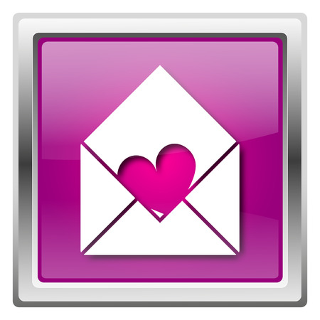 Metallic icon with white design on fuchsia background Stock Photo - 22675469