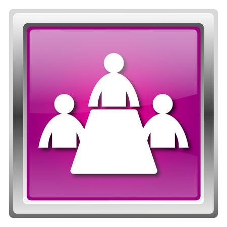 Metallic icon with white design on fuchsia background Stock Photo - 22675636