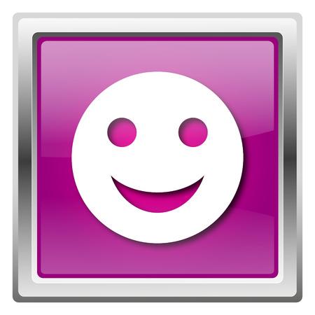 smily face: Metallic icon with white design on fuchsia background