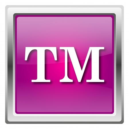 warrant: Metallic icon with white design on fuchsia background