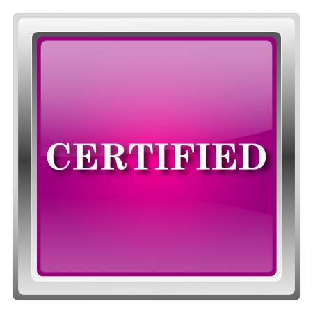 ratification: Metallic icon with white design on fuchsia background
