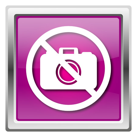 Metallic icon with white design on fuchsia background Stock Photo - 22675919