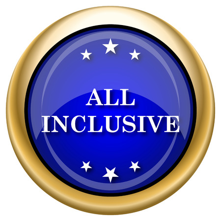 inclusive: Shiny glossy icon with white design on blue and gold background