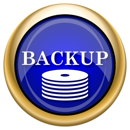 data archiving: Shiny glossy icon with white design on blue and gold background
