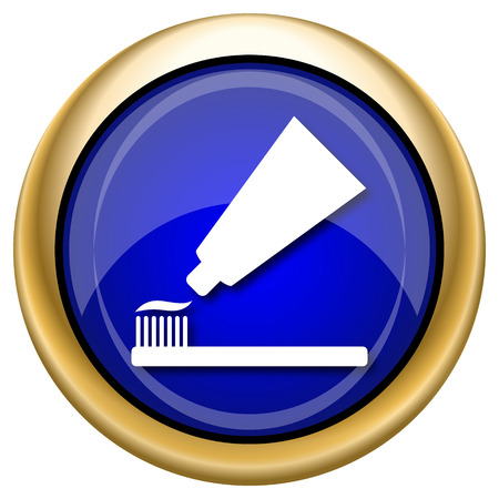 oral health: Shiny glossy icon with white design on blue and gold background