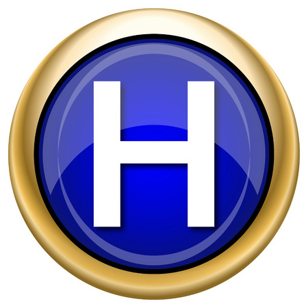 hobble: Shiny glossy icon with white design on blue and gold background