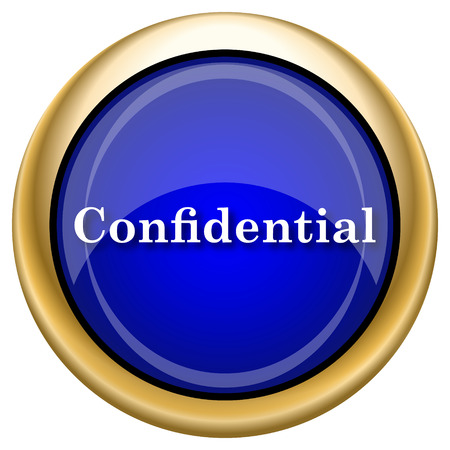 confidentiality: Shiny glossy icon with white design on blue and gold background