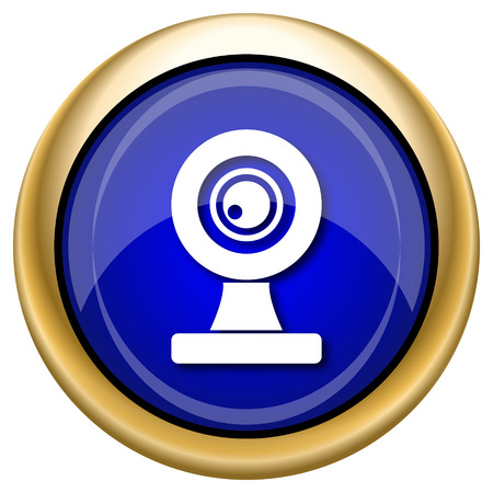 web cam: Shiny glossy icon with white design on blue and gold background