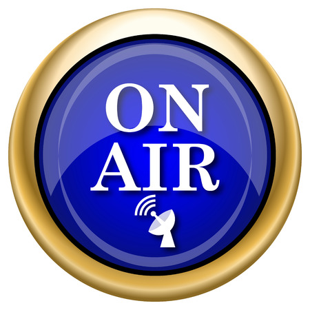 live stream radio: Shiny glossy icon with white design on blue and gold background