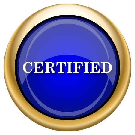of ratification: Shiny glossy icon with white design on blue and gold background