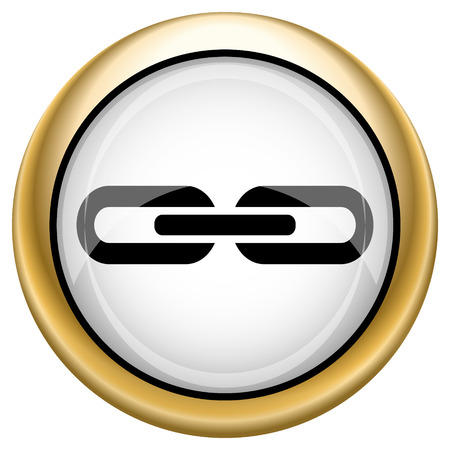 linked: Shiny glossy icon with black design on white and gold background