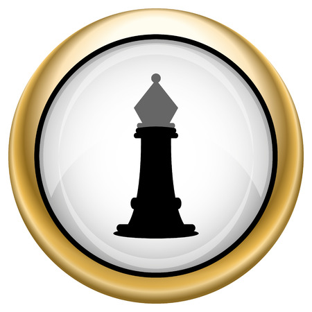 king master: Shiny glossy icon with black design on white and gold background