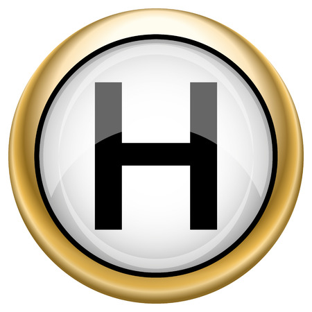 hobble: Shiny glossy icon with black design on white and gold background
