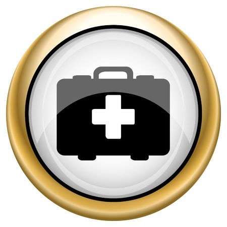 first aid kit key: Shiny glossy icon with black design on white and gold background