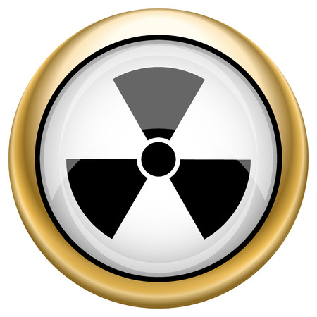 radium: Shiny glossy icon with black design on white and gold background
