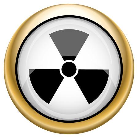 radium: Shiny glossy icon with black design on white and gold background