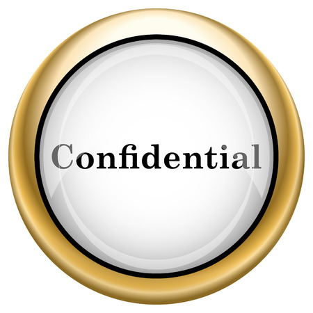 confidentiality: Shiny glossy icon with black design on white and gold background